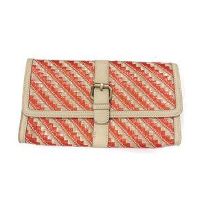 Forever 21 Orange and Beige Woven Raffia Clutch